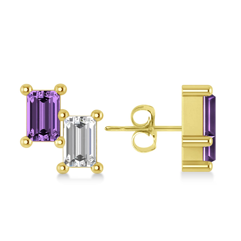 Bar Amethyst & Diamond Baguette Earrings 14k Yellow Gold (1.30 ctw)