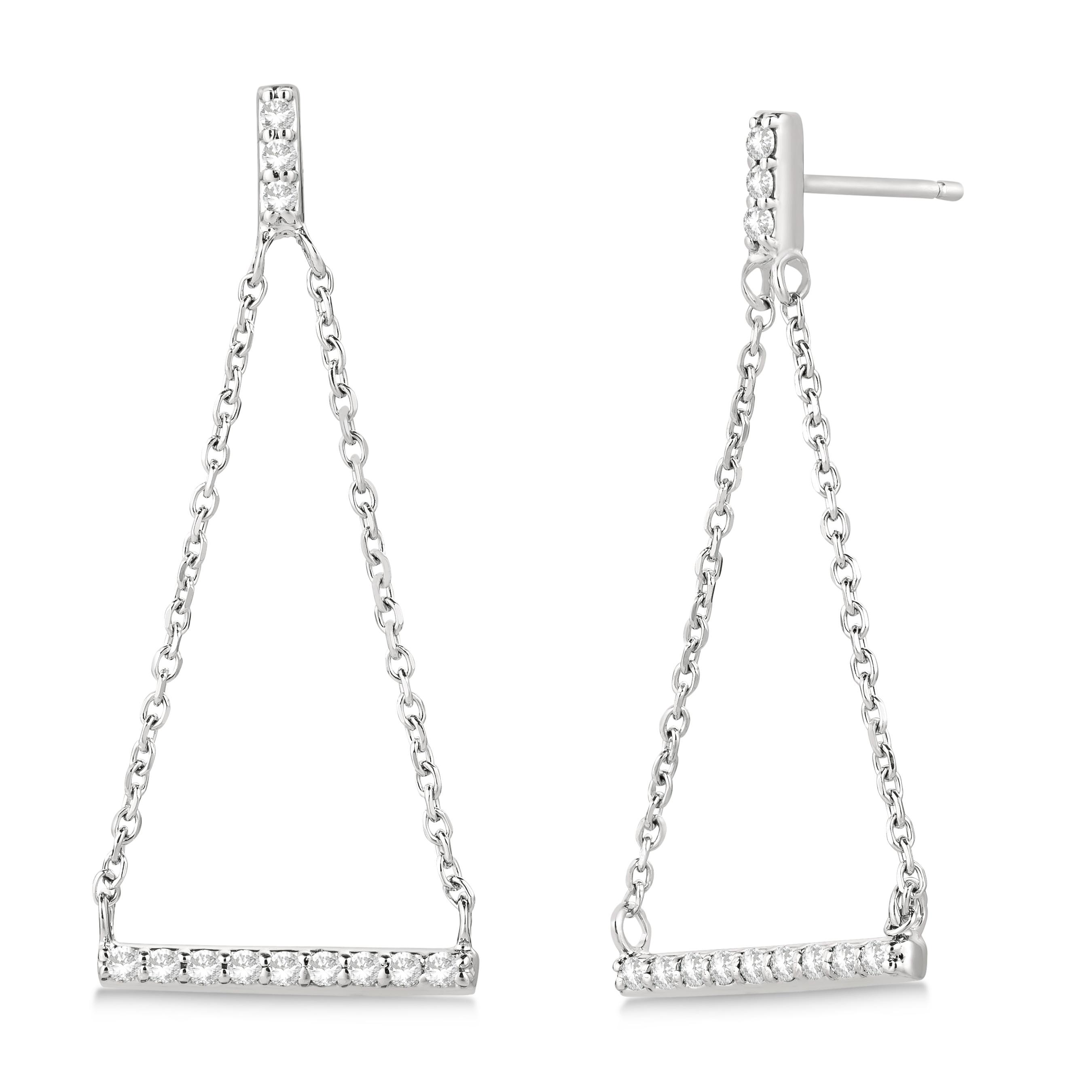 Diamond Horizontal Bar Drop Earrings 14k White Gold (0.25ct)