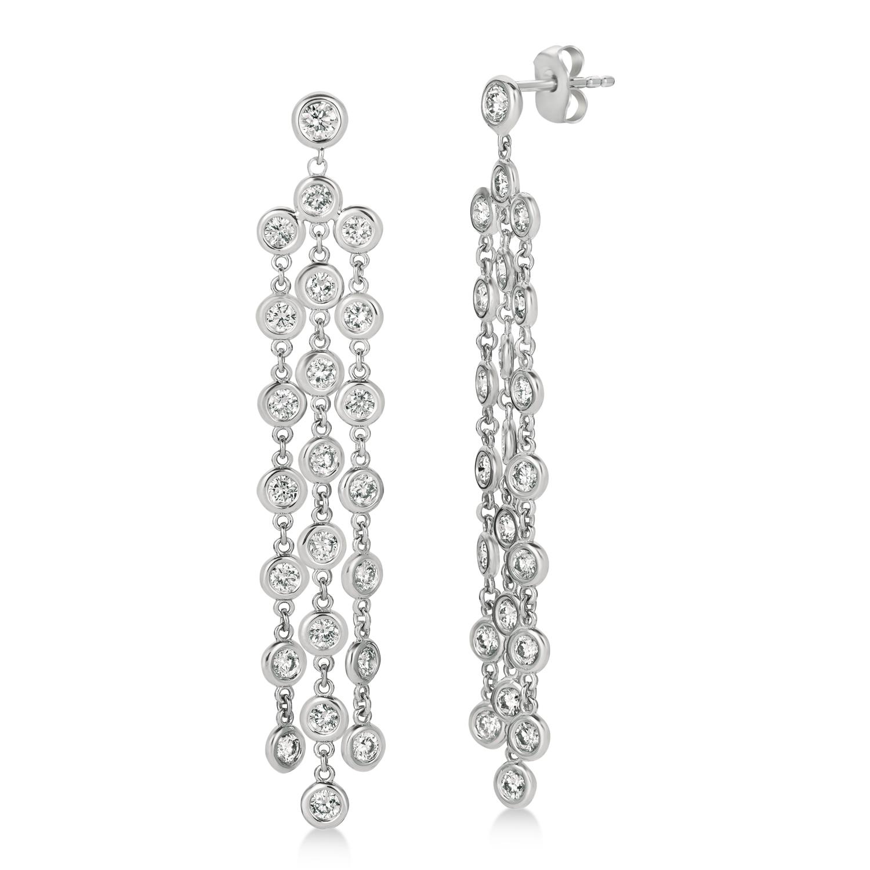 Diamond Accented Dangling Chandelier Earrings 14k White Gold (2.75ct)