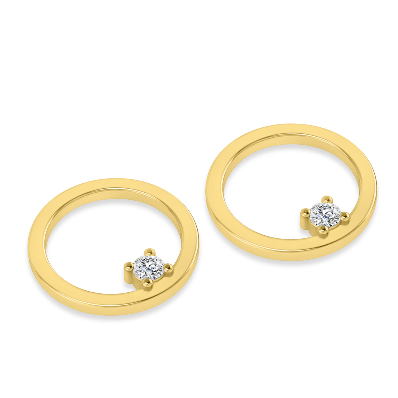 Floating Diamond Hoop Earrings 14k Yellow Gold (0.20 ctw)