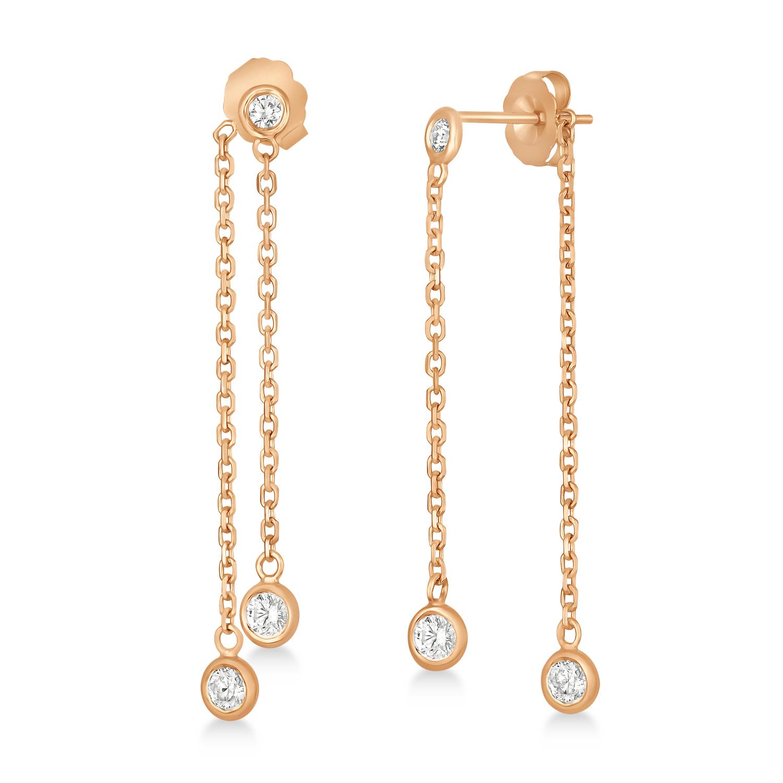 Diamond Bezel-Set Drop Earrings in 14k Rose Gold (0.50 ctw)