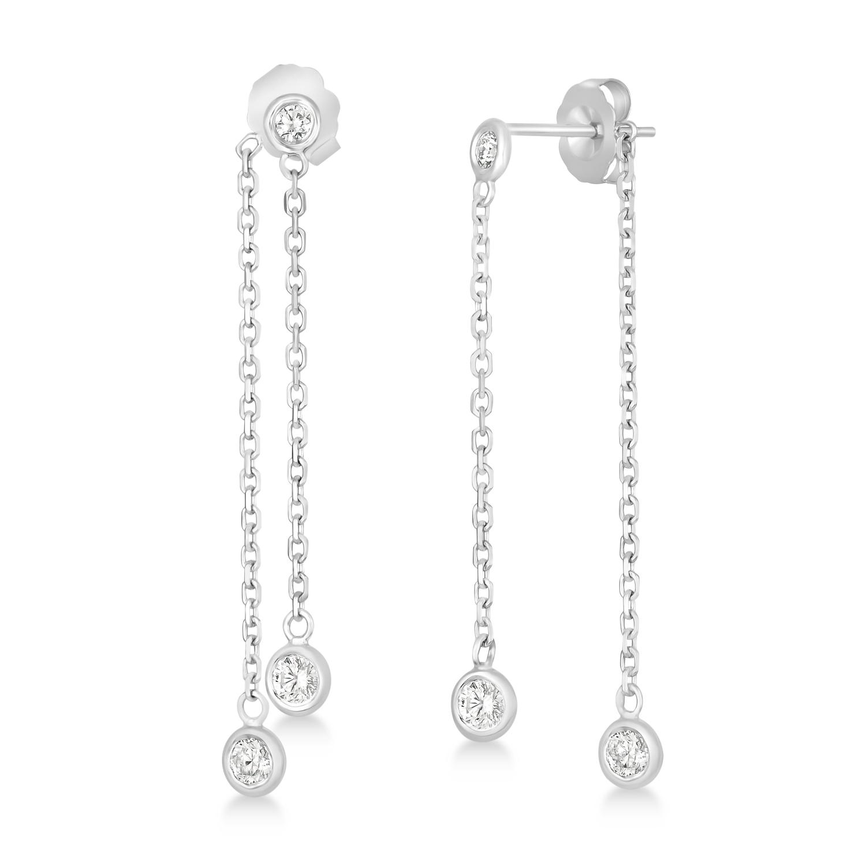 Diamond Bezel-Set Drop Earrings in 14k White Gold (0.50 ctw)