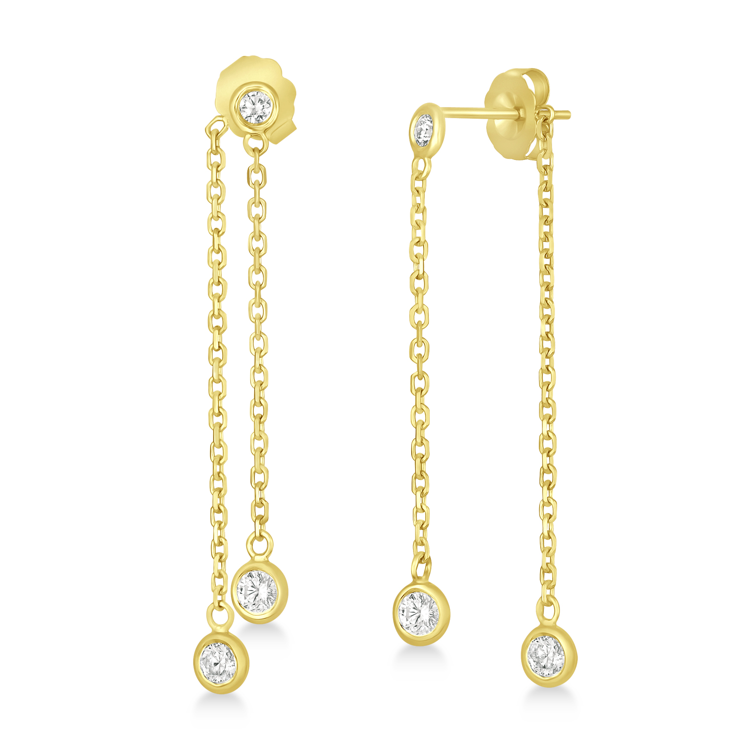 Diamond Bezel-Set Drop Earrings in 14k Yellow Gold (0.50 ctw)