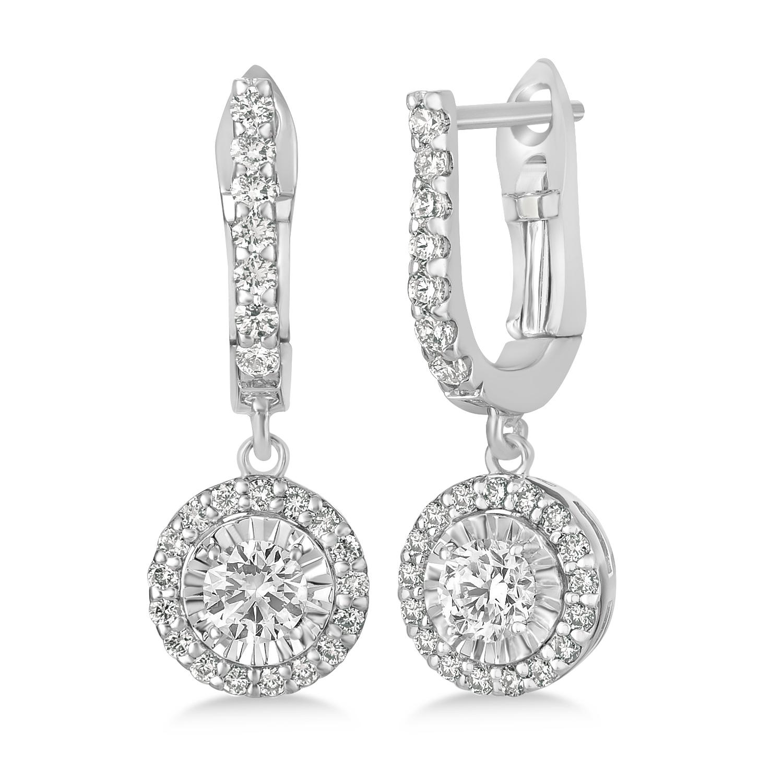 Round Diamond Halo Dangle Earrings in 14k White Gold (1.25 ctw)
