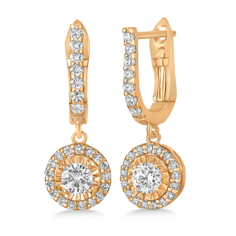 Round Diamond Halo Dangle Earrings in 14k Rose Gold (1.57 ctw)
