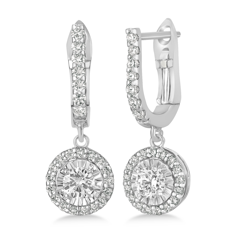 Round Diamond Halo Dangle Earrings in 14k White Gold (1.57 ctw)
