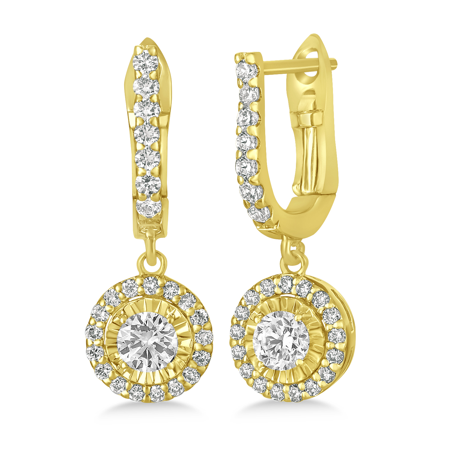 Round Diamond Halo Dangle Earrings in 14k Yellow Gold (1.57 ctw)