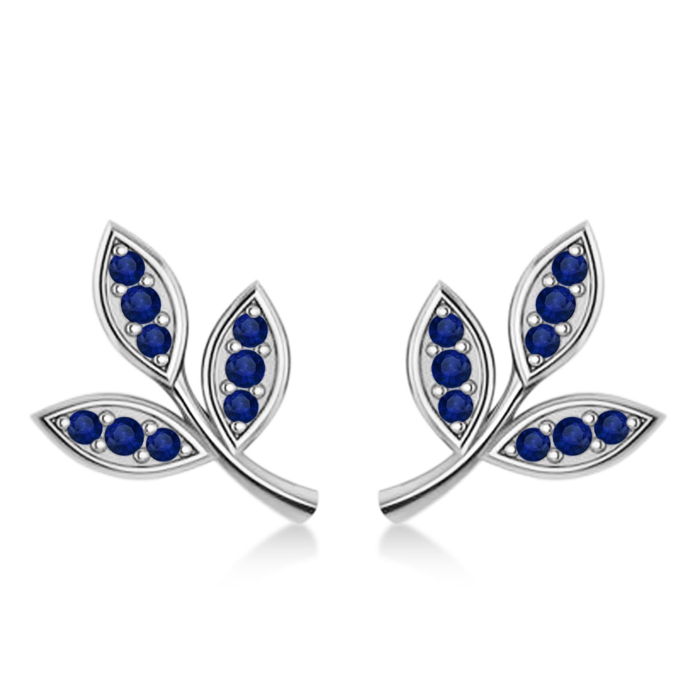 Blue Sapphire 3-Petal Leaf Earrings 14k White Gold (0.21ct)