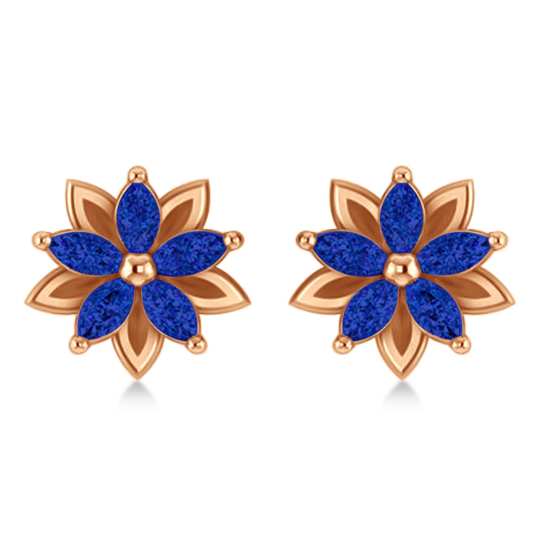 Blue Sapphire 5-Petal Flower Earrings 14k Rose Gold (1.40ct)