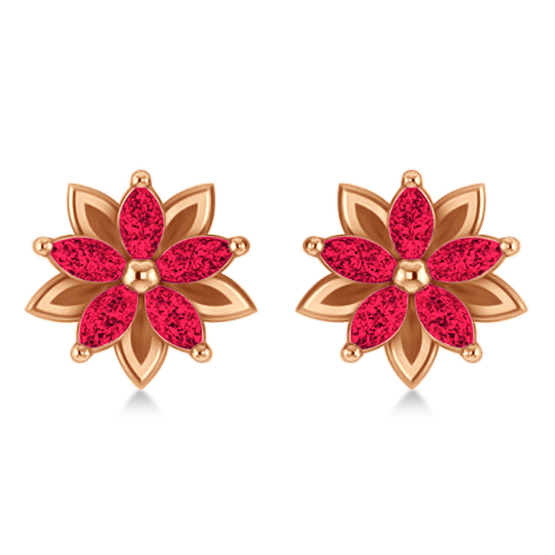 Ruby 5-Petal Flower Earrings 14k Rose Gold (1.40ct)