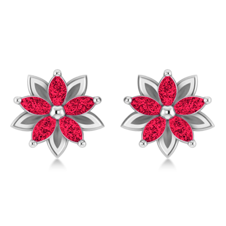 Ruby 5-Petal Flower Earrings 14k White Gold (1.40ct)