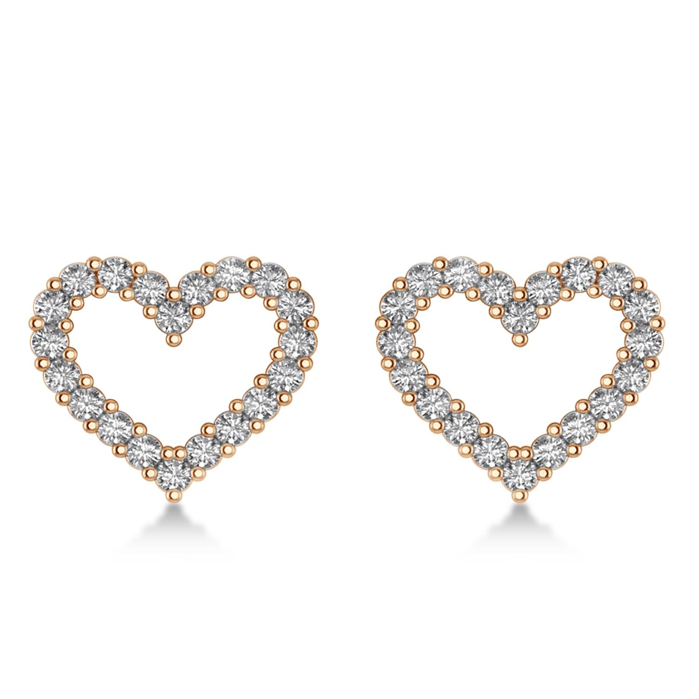 Diamond Open Heart Earrings 14k Rose Gold (0.60ct)
