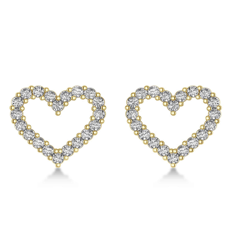 Diamond Open Heart Earrings 14k Yellow Gold (0.60ct)
