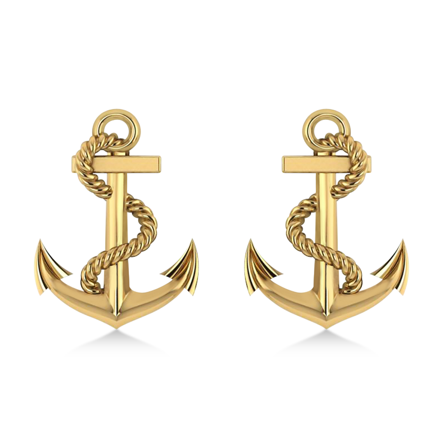 Anchor With Rope Earrings 14k Yellow Gold
