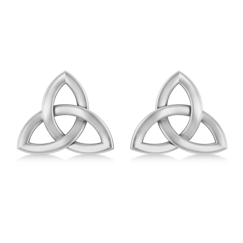 Celtic Knot Stud Earrings 14k White Gold