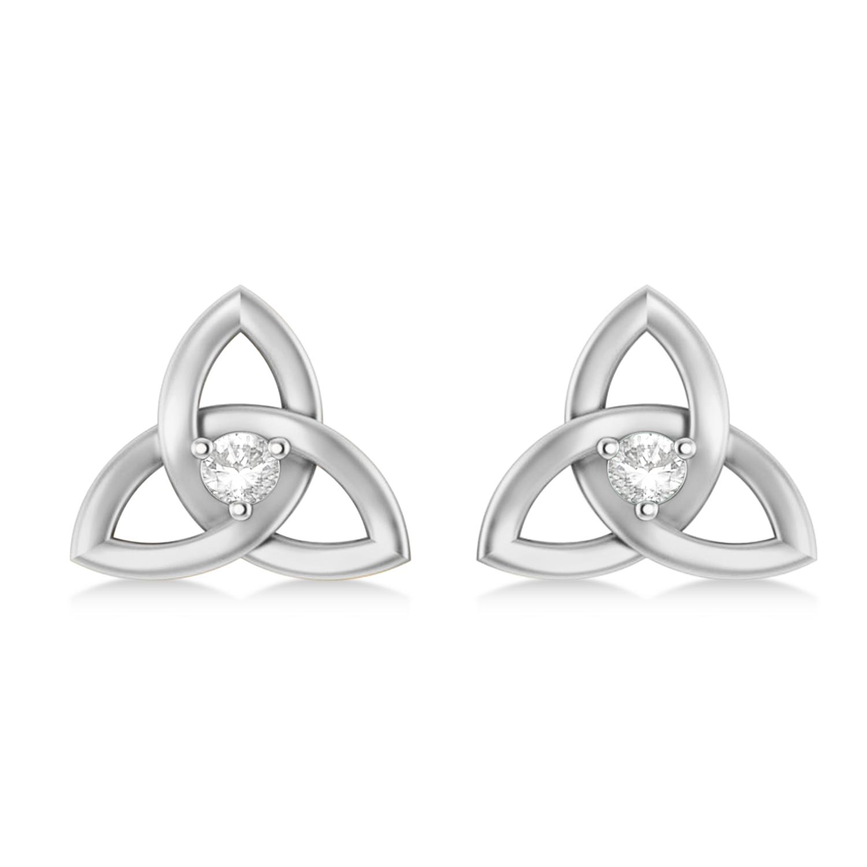 Diamond Celtic Knot Stud Earrings 14k White Gold (0.10ct)
