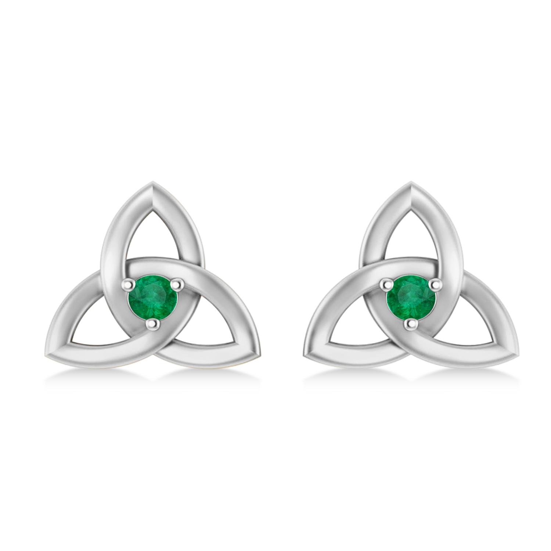 Emerald Celtic Knot Stud Earrings 14k White Gold (0.10ct)