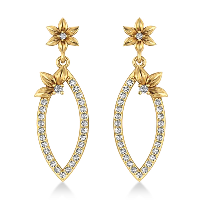 Diamond Flower Dangling Earrings 14k Yellow Gold (0.58ct)