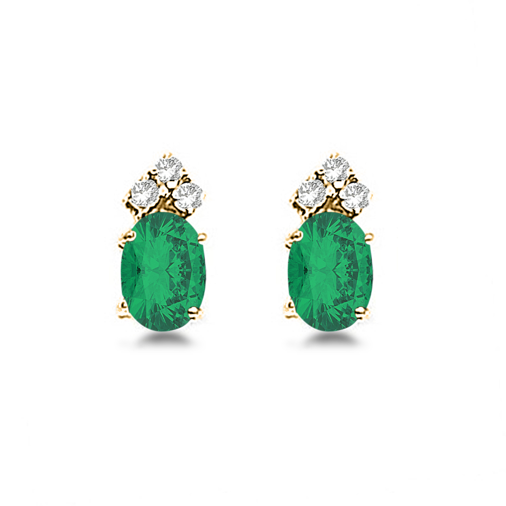 Oval Emerald and Diamond Stud Earrings 14k Yellow Gold (1.24ct)