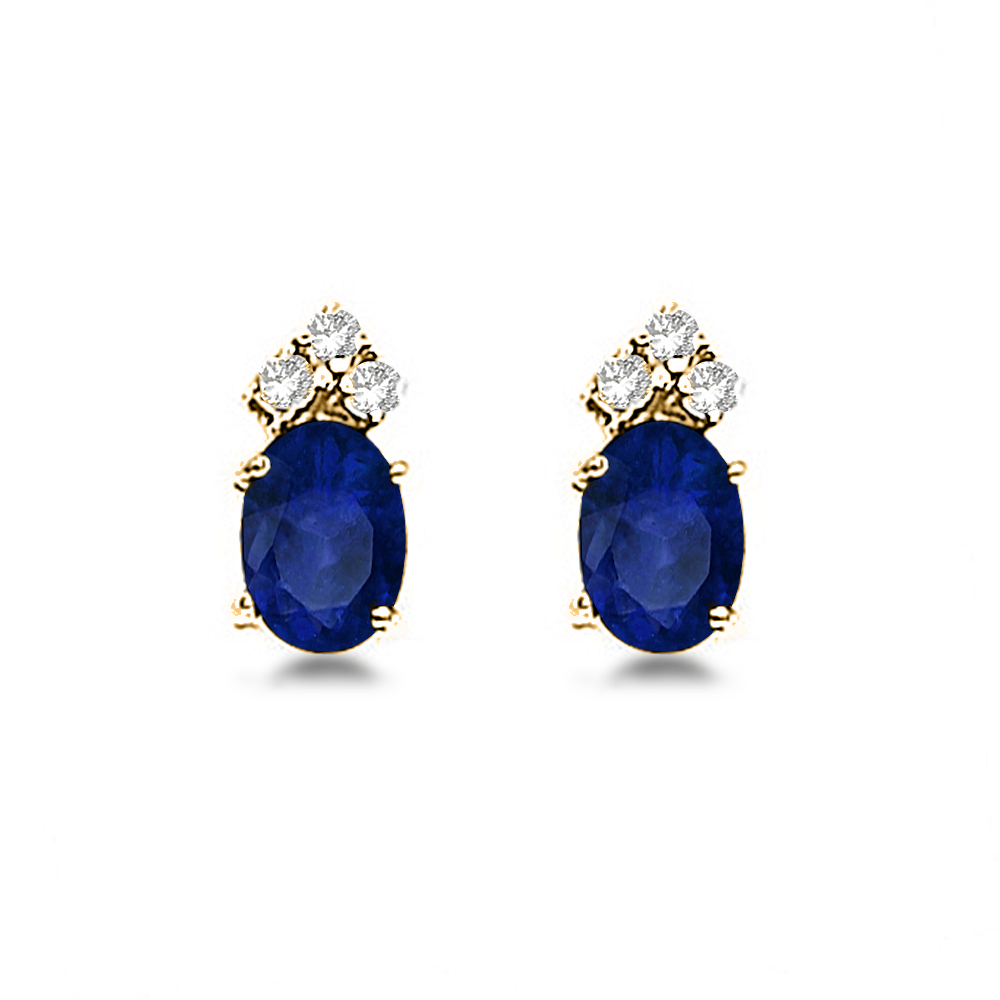 Oval Blue Sapphire and Diamond Stud Earrings 14k Yellow Gold (1.24ct)