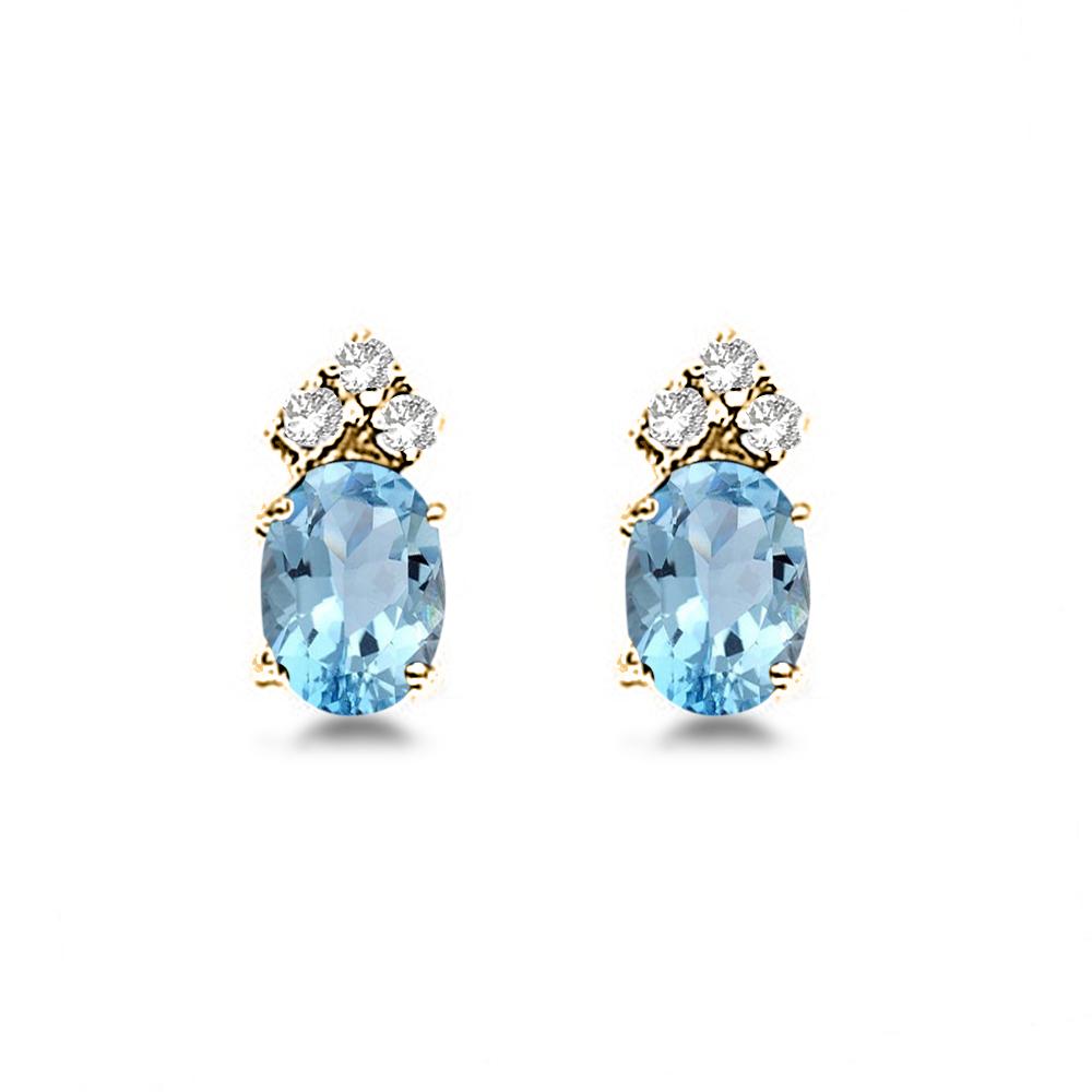 Oval Aquamarine & Diamond Stud Earrings 14k Yellow Gold (1.24ct)