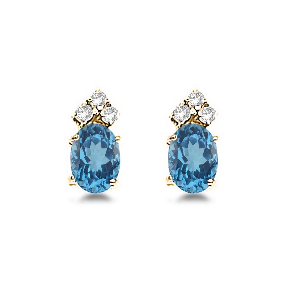 Oval Blue Topaz & Diamond Stud Earrings 14k Yellow Gold (1.24ct)
