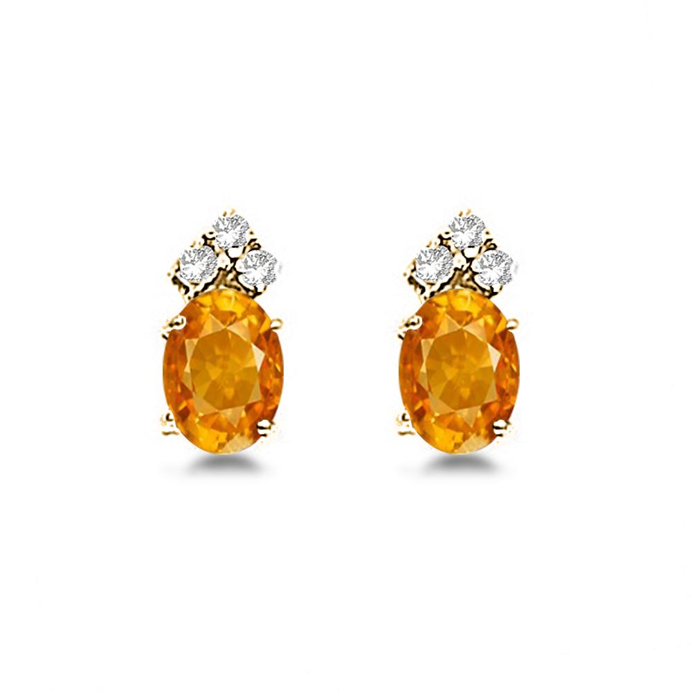 Oval Citrine & Diamond Stud Earrings 14k Yellow Gold (1.24ct)