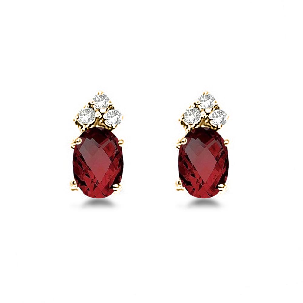 Oval Garnet & Diamond Stud Earrings 14k Yellow Gold (1.24ct)