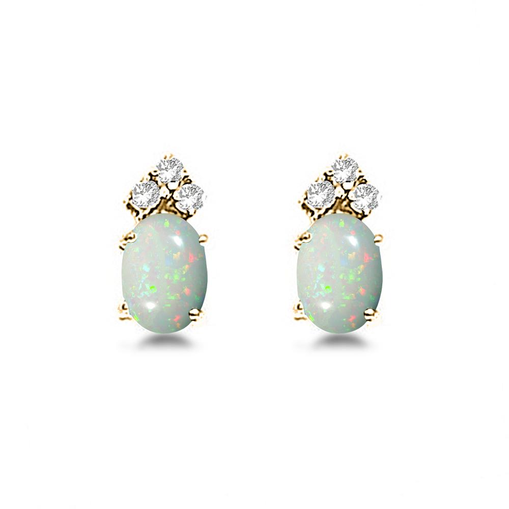 Oval Opal & Diamond Stud Earrings 14k Yellow Gold (1.24ct)