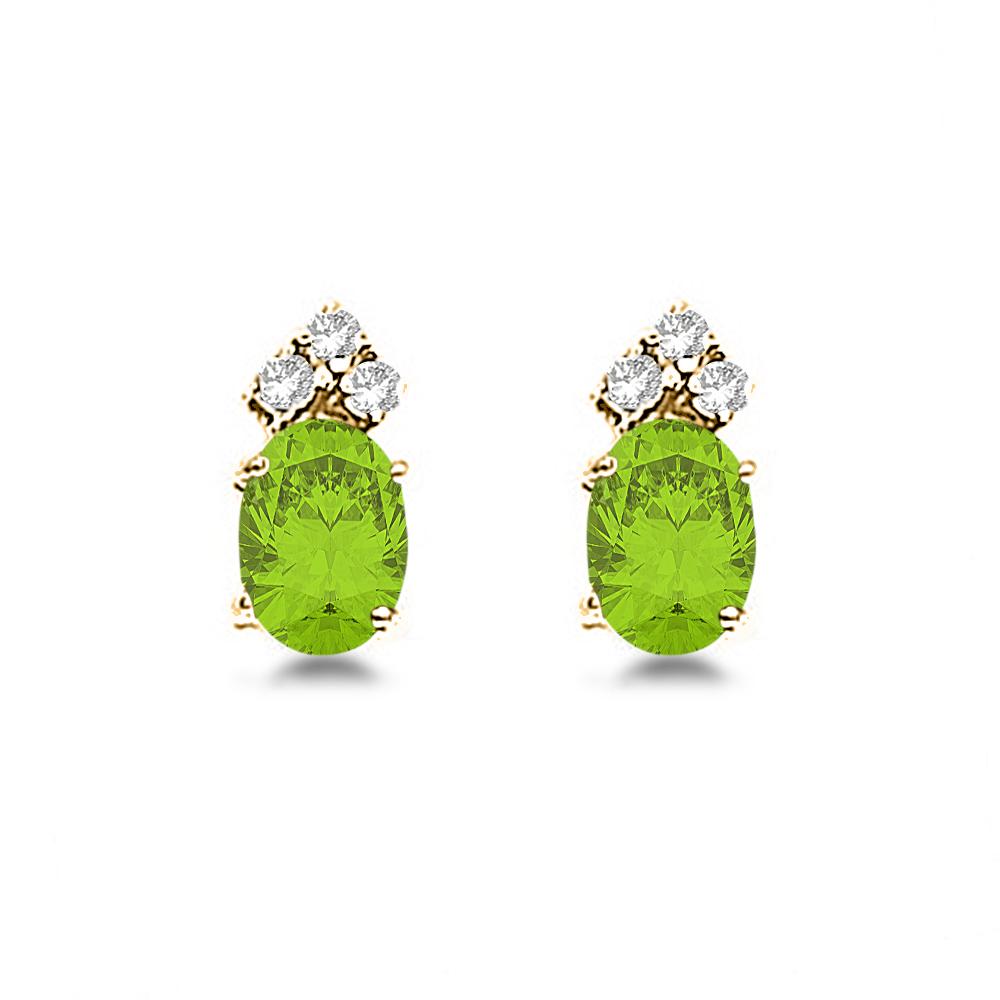 Oval Peridot & Diamond Stud Earrings 14k Yellow Gold (1.24ct)