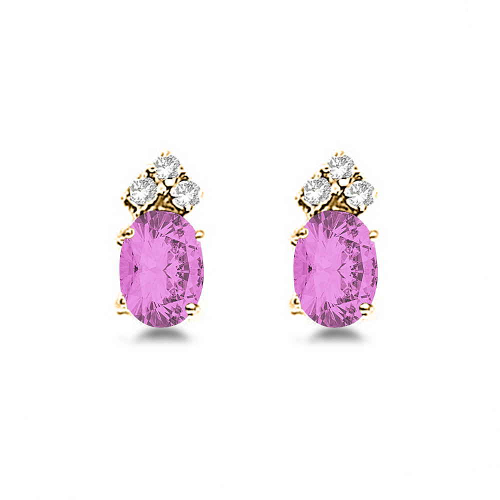 Oval Pink Sapphire & Diamond Stud Earrings 14k Yellow Gold (1.24ct)