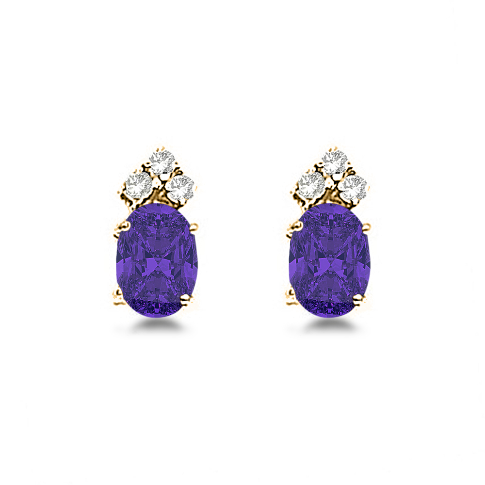 Oval Tanzanite & Diamond Stud Earrings 14k Yellow Gold (1.24ct)