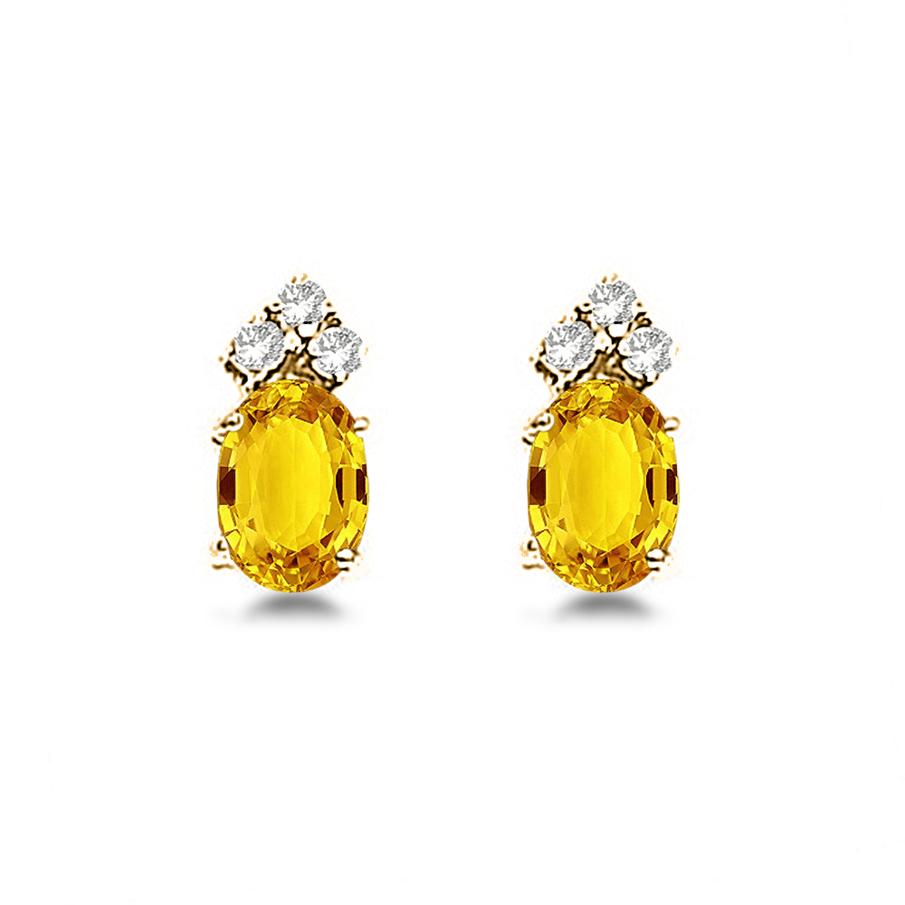 Oval Yellow Sapphire & Diamond Stud Earrings 14k Yellow Gold (1.24ct)