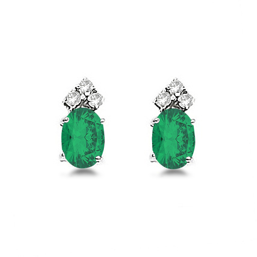 Oval Emerald and Diamond Stud Earrings 14k White Gold (1.24ct)