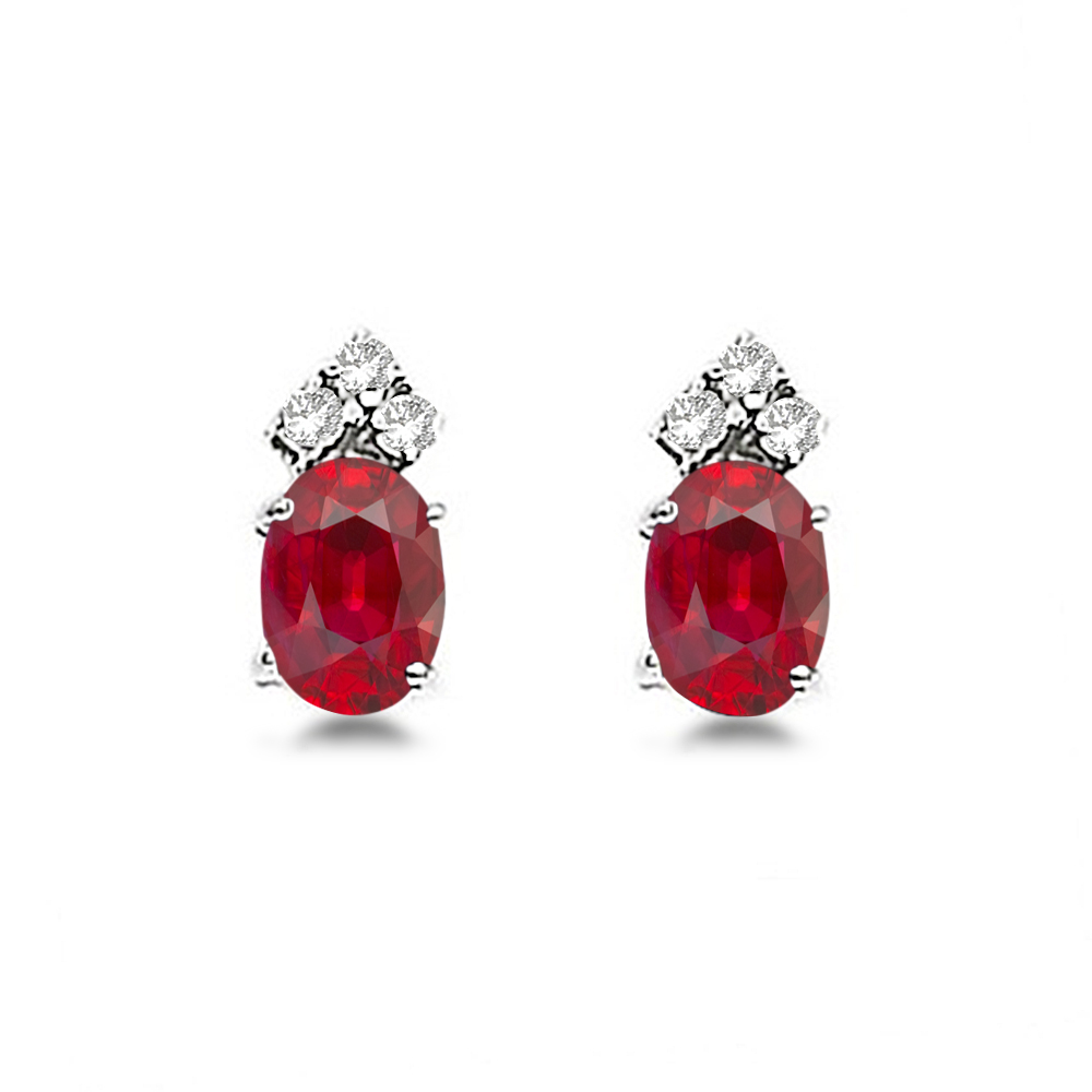 Oval Ruby and Diamond Stud Earrings 14k White Gold (1.24ct)