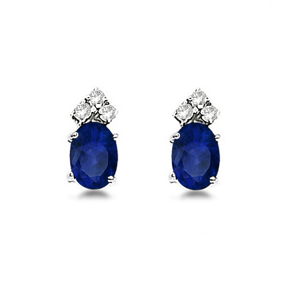 Oval Blue Sapphire and Diamond Stud Earrings 14k White Gold (1.24ct)
