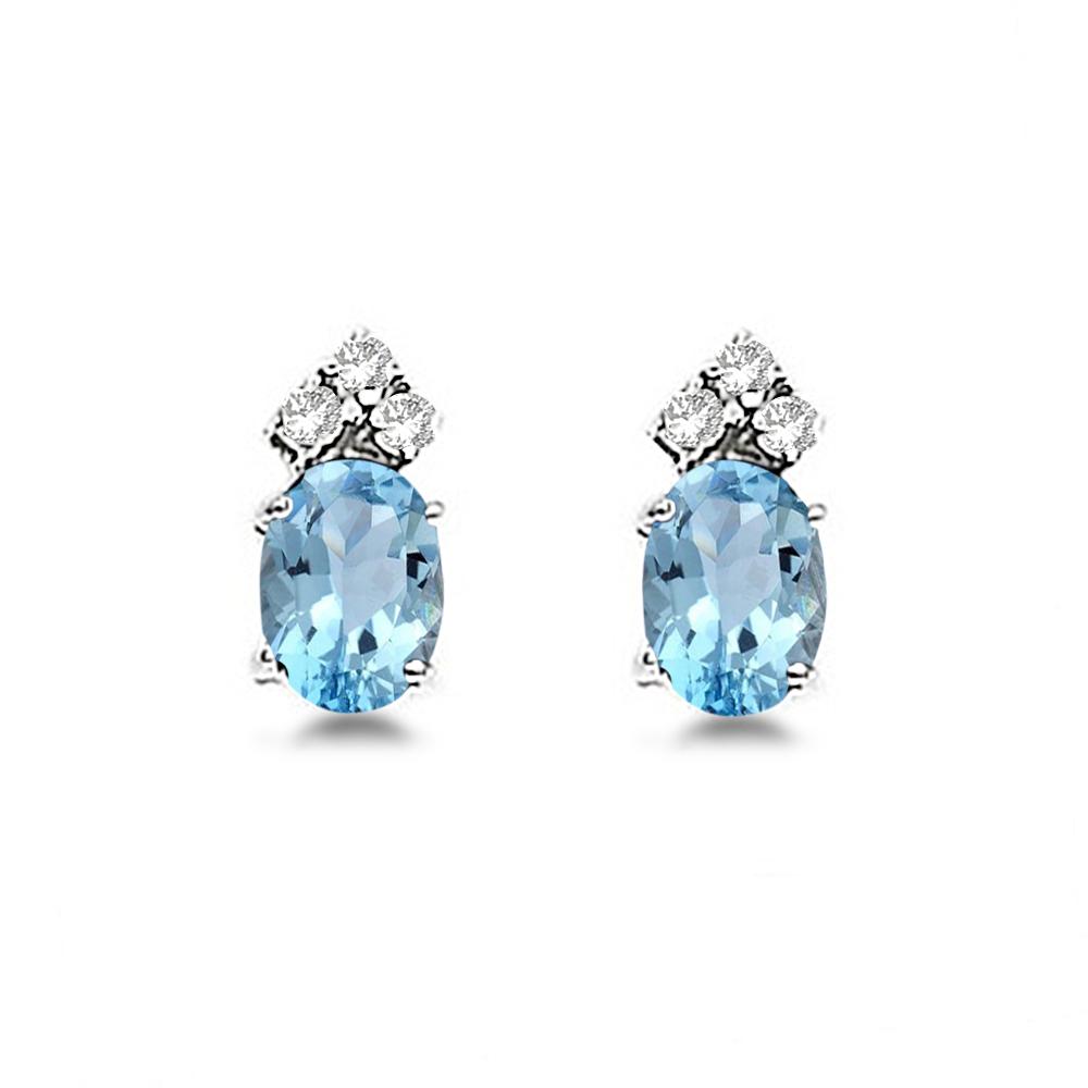 Oval Aquamarine & Diamond Stud Earrings 14k White Gold (1.24ct)