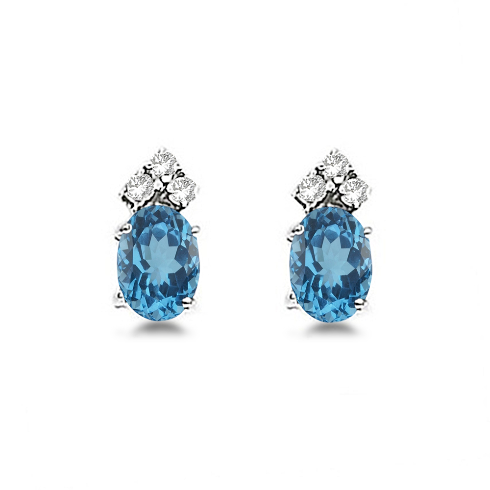 Oval Blue Topaz & Diamond Stud Earrings 14k White Gold (1.24ct)