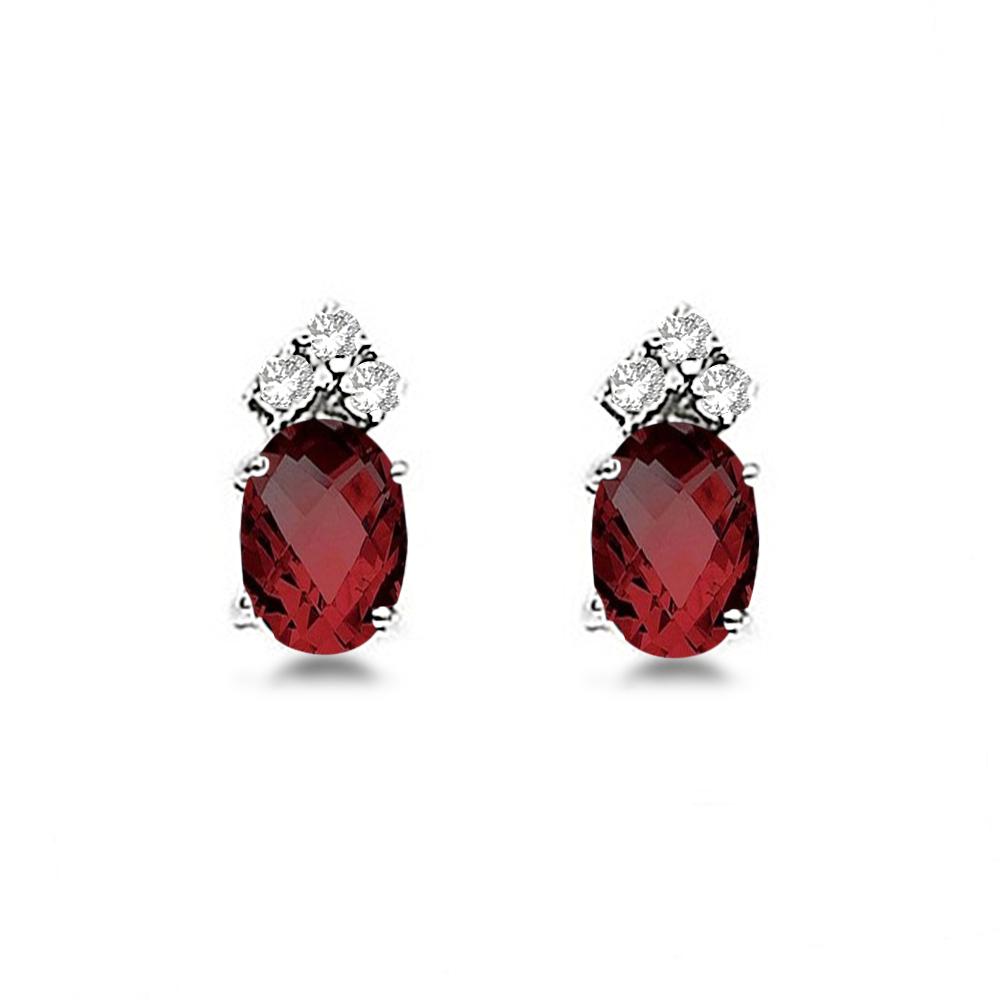 Oval Garnet & Diamond Stud Earrings 14k White Gold (1.24ct)