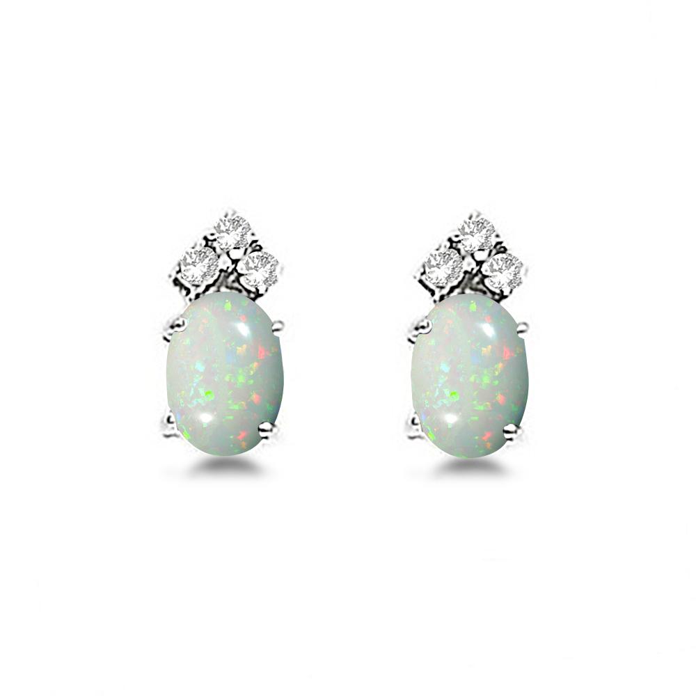 Oval Opal & Diamond Stud Earrings 14k White Gold (1.24ct)