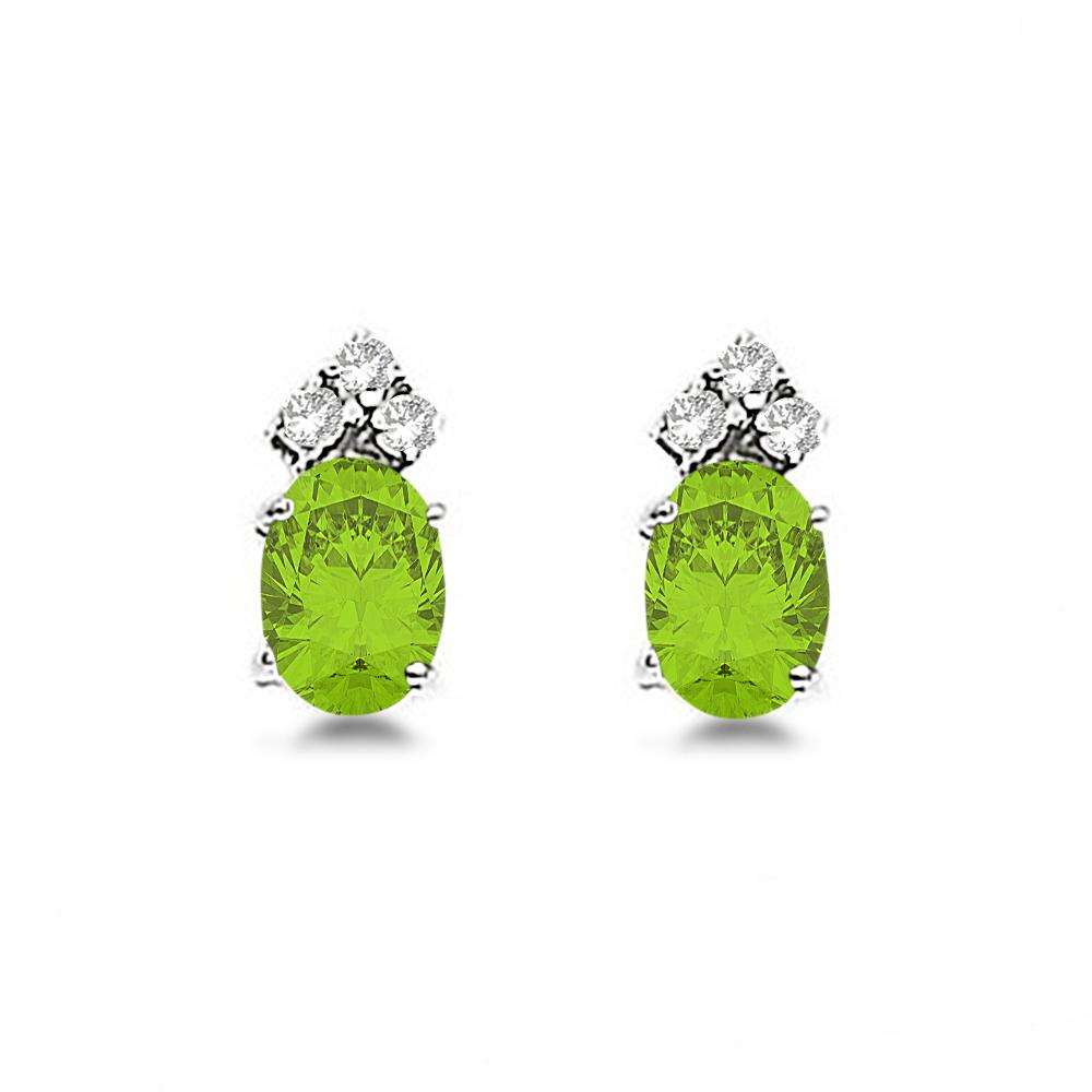 Oval Peridot & Diamond Stud Earrings 14k White Gold (1.24ct)