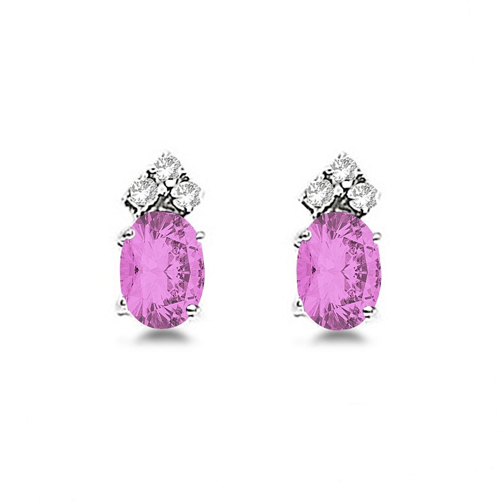 Oval Pink Sapphire & Diamond Stud Earrings 14k White Gold (1.24ct)
