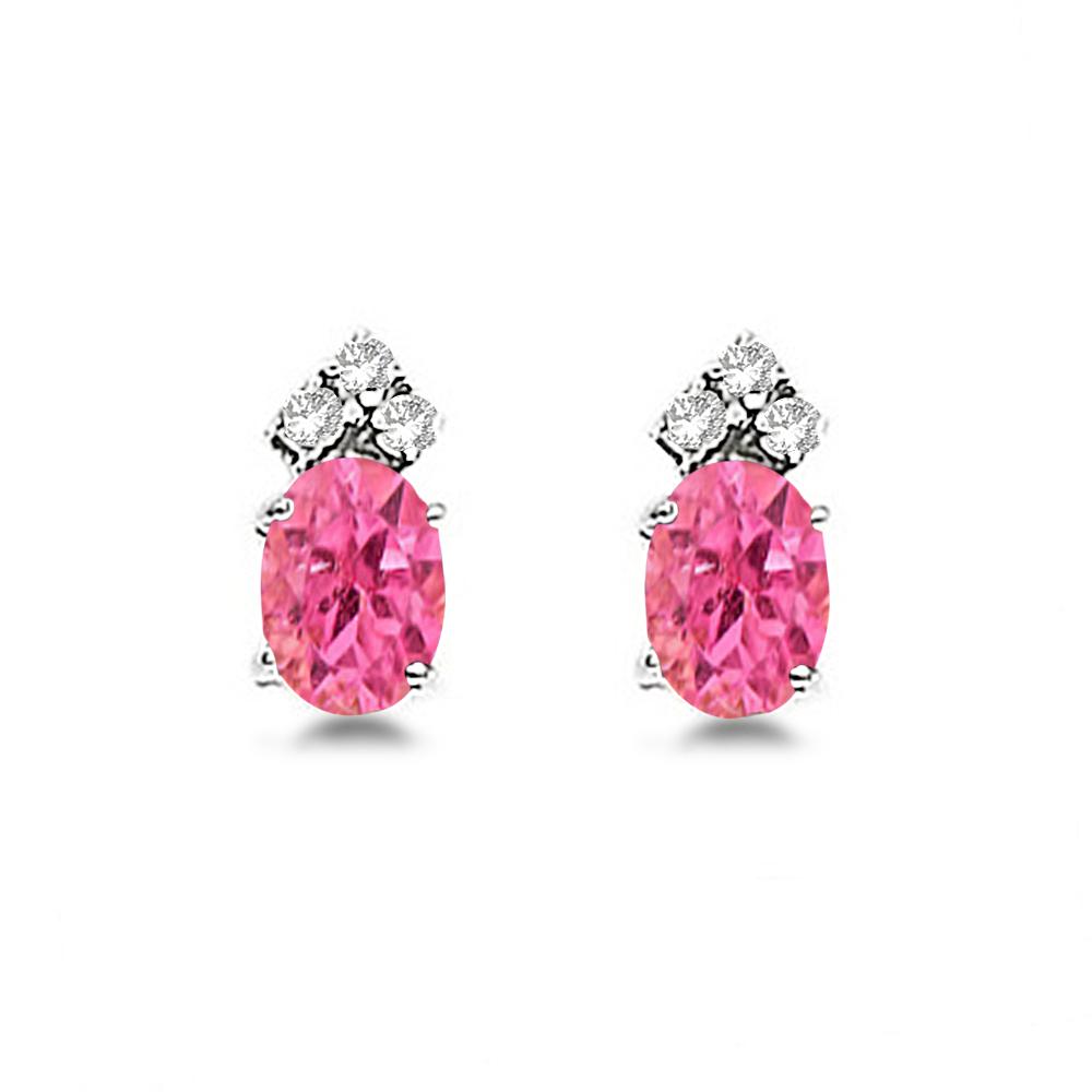 Oval Pink Tourmaline & Diamond Stud Earrings 14k White Gold (1.24ct)