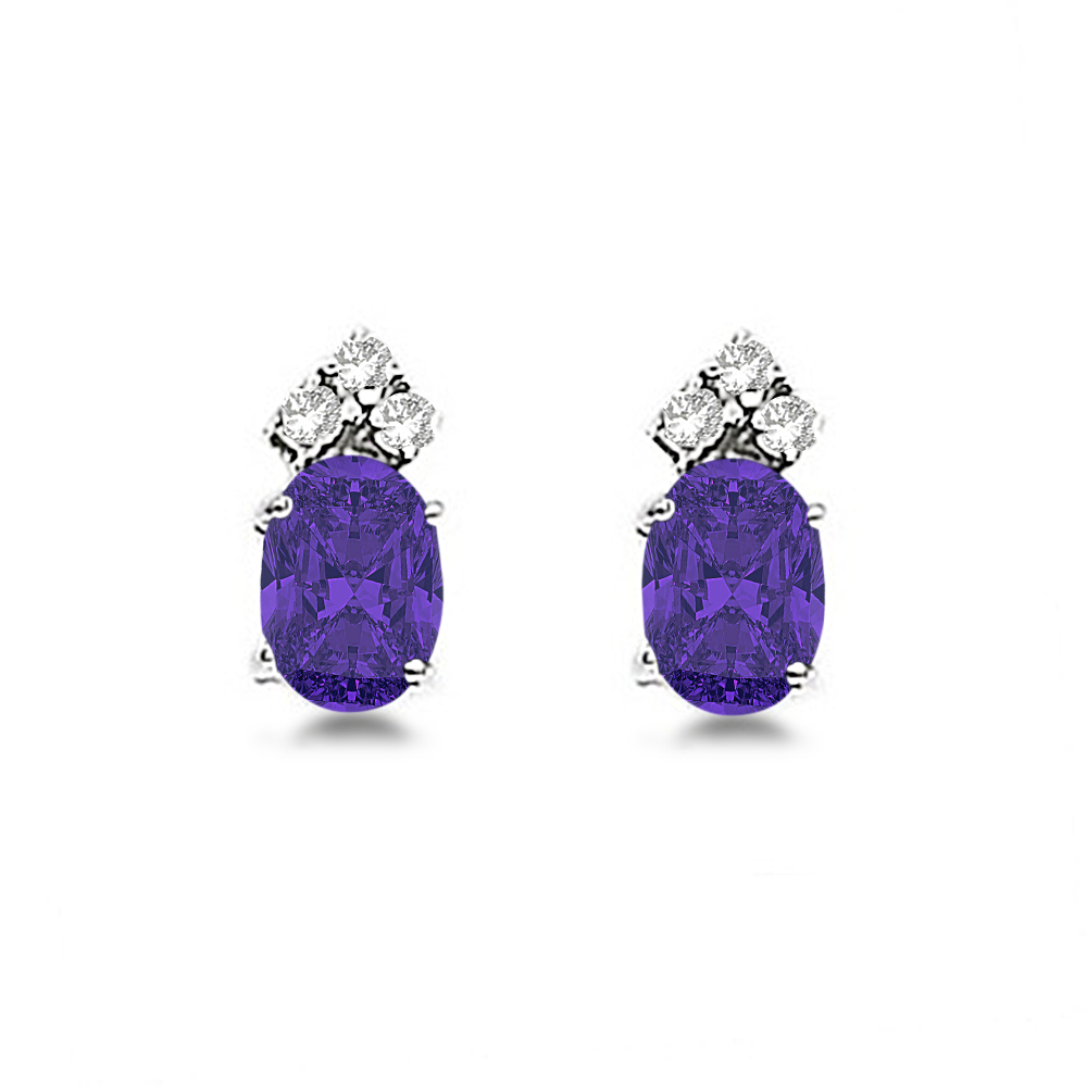 Oval Tanzanite & Diamond Stud Earrings 14k White Gold (1.24ct)