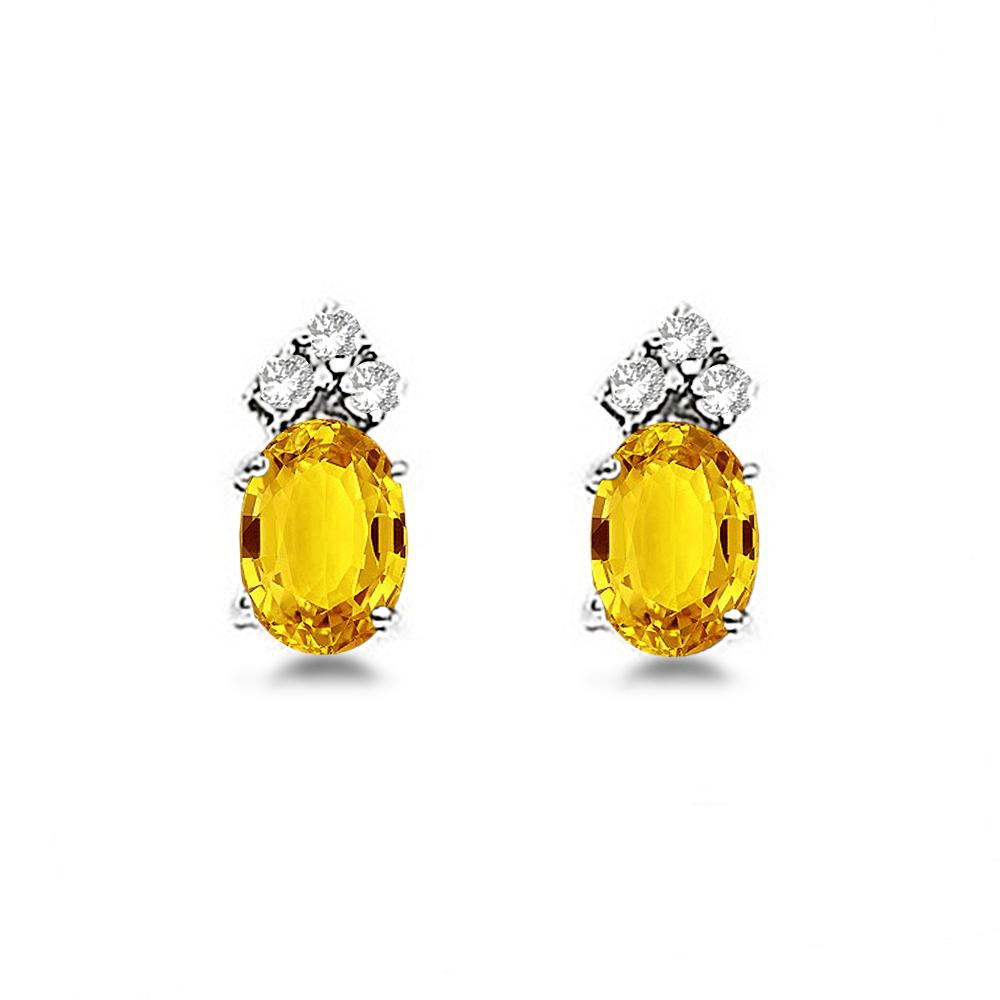 Oval Yellow Sapphire & Diamond Stud Earrings 14k White Gold (1.24ct)