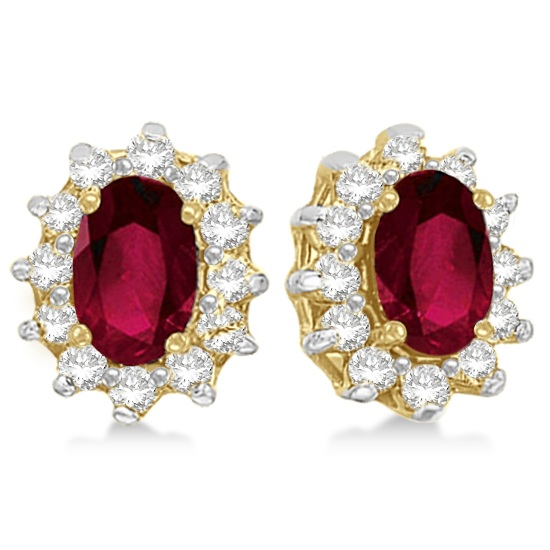 Oval Ruby & Diamond Accented Earrings 14k Yellow Gold (2.05ct)