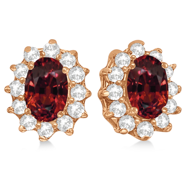 Oval Garnet & Diamond Accented Earrings 14k Rose Gold (2.05ct)
