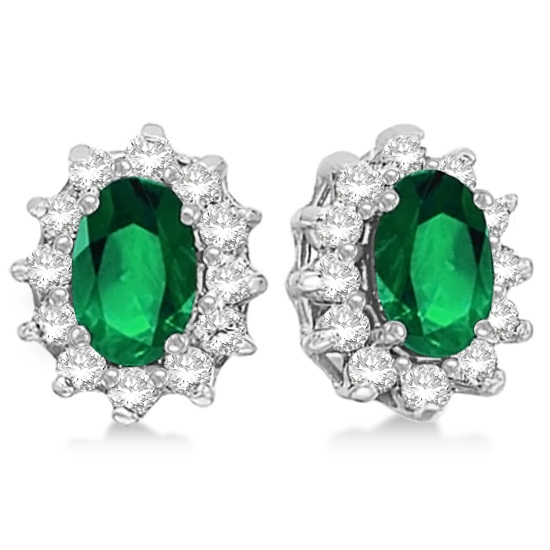 Oval Emerald & Diamond Accented Earrings 14k White Gold (2.05ct)
