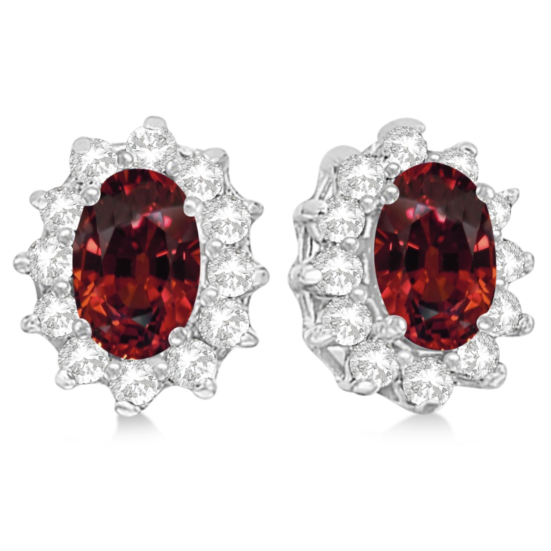 Oval Garnet & Diamond Accented Earrings 14k White Gold (2.05ct)