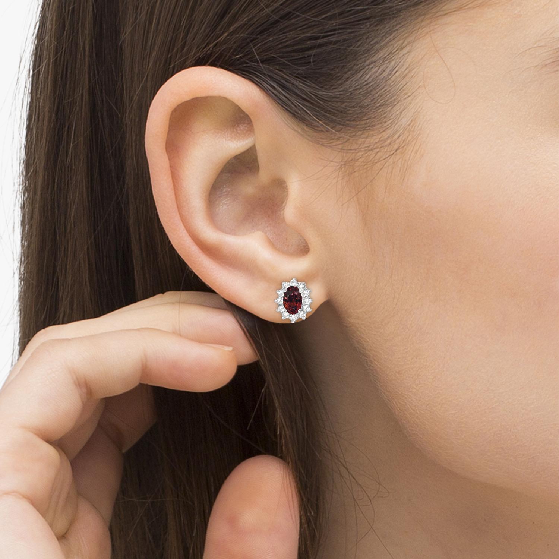 oval garnet accented earrings 14k white gold 2 05ct